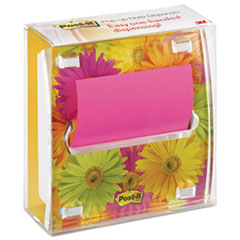 Post-it Pop-up Notes Clear Top Pop-up Note Dispenser with Designer Daisy Insert, 3 x 3 Pad, White