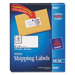 Avery Shipping Labels w/Ultrahold Ad & TrueBlock, Inkjet, 2 x 4, White, 1000/Box