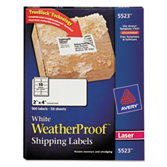 Avery WeatherProof Mailing Labels w/TrueBlock, Laser, White, 2 x 4, 500/Pack