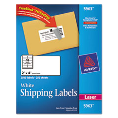 Avery Shipping Labels w/Ultrahold Ad & TrueBlock, Laser, 2 x 4, White, 2500/Box