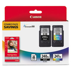 Canon 5206B005 (PG-240XL/CL-241XL) High-Yield Ink & Paper Combo Pack, Black/Tri-Color