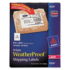 Avery WeatherProof Mailing Labels w/TrueBlock, Laser, White, 5 1/2 x 8 1/2, 100/Pack
