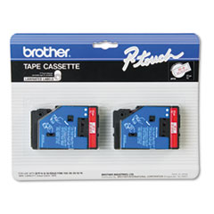 Brother P-Touch TC Tape Cartridges for P-Touch Labelers, 1/2w, Red on Clear, 2/Pack