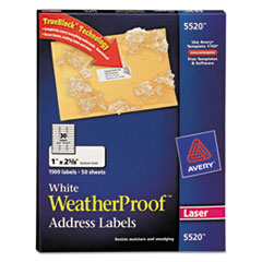 Avery WeatherProof Mailing Labels w/TrueBlock, Laser, White, 1 x 2 5/8, 1500/Pack