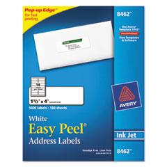Avery Easy Peel Inkjet Address Labels, 1 1/3 x 4, White, 1400/Box
