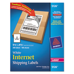 Avery Shipping Labels w/Ultrahold Ad & TrueBlock, Laser, 5 1/2 x 8 1/2, White, 200/Box