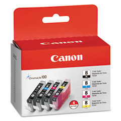 Canon CLI8 (CLI-8) Ink Tank, 4/Pack, Black; Cyan; Magenta; Yellow