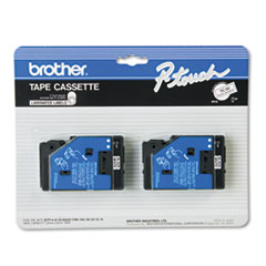 Brother P-Touch TC Tape Cartridges for P-Touch Labelers, 1/2w, Black on White, 2/Pack