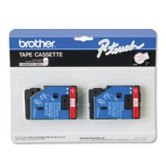 Brother P-Touch TC Tape Cartridges for P-Touch Labelers, 1/2w, Red on White, 2/Pack