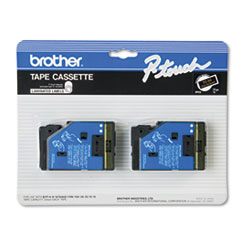 Brother P-Touch TC Tape Cartridges for P-Touch Labelers, 1/2w, Gold on Black, 2/Pack