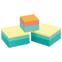 Post-it Notes Original Cubes, One 2 x 2: 360/Pad, Two 3 x 3: 400/Pad, Emerald Wave