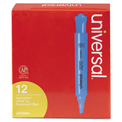 Universal Desk Highlighter, Chisel Tip, Fluorescent Blue, Dozen