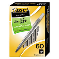 BIC Round Stic Xtra Precision/Xtra Life Ballpoint, Black Ink, 1mm, Medium, 60/Box