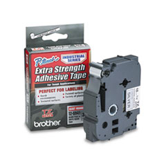 Brother P-Touch TZ Extra-Strength Adhesive Laminated Labeling Tape, 3/4w, Black on Matte Silver