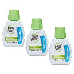 Paper Mate Liquid Paper Fast Dry Correction Fluid, 22 ml Bottle, White, 3/Pack