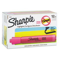 Sharpie Accent Tank Style Highlighter, Chisel Tip, Pink, 12/Pk