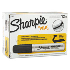 Sharpie King Size Permanent Marker, Chisel Tip, Black, Dozen