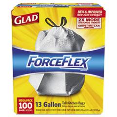 Glad ForceFlex Tall Kitchen Drawstring Bags, 13 gal, .90mil, 24x25 1/8 White 100/Bx