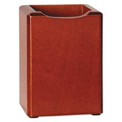 Rolodex Wood Tones Pencil Cup, Mahogany, 3 1/8 x 3 1/8 x 4 1/2