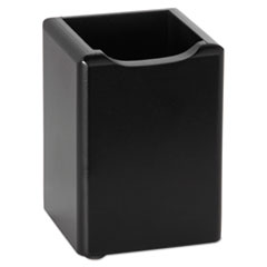 Rolodex Wood Tones Pencil Cup, Black, 2 3/4 x 2 3/4 x 4