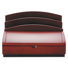Rolodex Desk Organizer, Three Sections, Wood, 10w x 5 1/2d x 8 1/2h, Mahogany