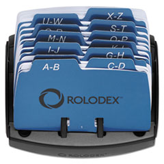 Rolodex Petite Open Tray Card File Holds 125 2 1/4 x 4 Cards, Black