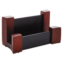 Rolodex Wood/Leather Business Card Holder, Capacity 50 2 1/4 x 4 Cards, Black/Mahogany