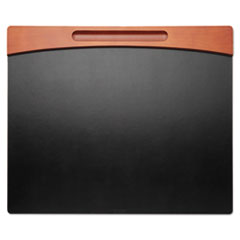 Rolodex Mahogany Wood and Black Faux Leather Desk Pad, 24 x 20 x 11/16