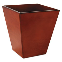 Rolodex Wood Tones Wastebasket, Trapezoidal, Wood, Mahogany