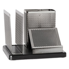 Rolodex Distinctions Desk Organizer, 5 7/8 x 5 7/8 x 4 1/2, Metal/Black