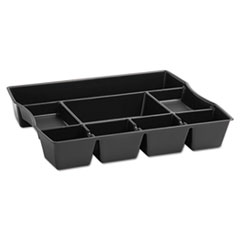 Rubbermaid Nine-Compartment Deep Drawer Organizer, Plastic, 14 7/8 x 11 7/8 x 2 1/2, Black