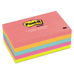Post-it Notes Original Pads in Capetown Colors, 3 x 5, Lined, 100/Pad, 5 Pads/Pack