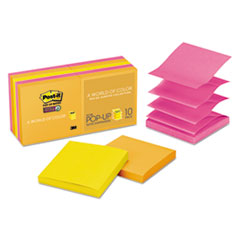 Post-it Pop-up Notes Super Sticky Pop-up 3 x 3 Note Refill, Rio de Janeiro, 90/Pad, 10 Pads/Pack