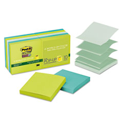 Post-it Pop-up Notes Super Sticky Pop-up Recycled Notes in Bora Bora Colors, 3 x 3, 90/Pad, 10 Pads/Pack