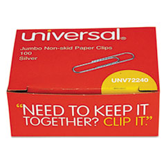 Universal Nonskid Paper Clips, Wire, Jumbo, Silver, 100/Box, 10 Boxes/Pack