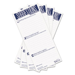 Safco Suggestion Box Cards, 3-1/2 x 8, White, 25 Cards/Pack
