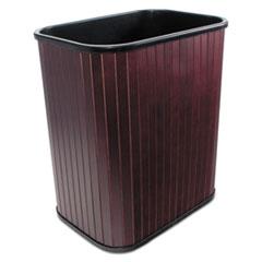 Carver Rectangular Hardwood Wastebasket, 17qt, Mahogany Stain/Black Liner