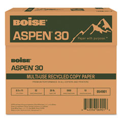 Boise ASPEN 30% Recycled Multi-Use Paper, 92 Bright, 20lb, 8 1/2 x 11, White