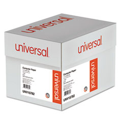 Universal Green Bar Computer Paper, 20lb, 14-7/8 x 8-1/2, Perforated Margins, 2600 Sheets