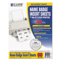 C-Line Name Badge Inserts, 4 x 3, White, 60/Pack