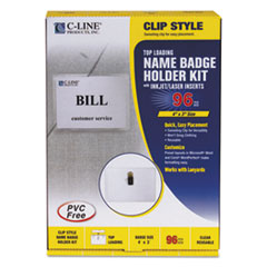 C-Line Name Badge Kits, Top Load, 4 x 3, White, Clip Style, 96/Box