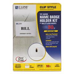 C-Line Name Badge Kits, Top Load, 3 1/2 x 2 1/4, White, 50/Box