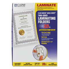 C-Line Quick Cover Laminating Pockets, 12 mil, 9 1/8