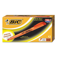 BIC Brite Liner Highlighter, Chisel Tip, Fluorescent Orange Ink, 1 Dozen