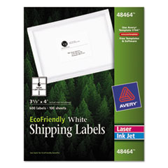 Avery EcoFriendly Laser/Inkjet Mailing Labels, 3 1/3 x 4, White, 600/Pack