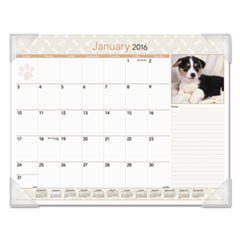 AT-A-GLANCE Puppies Monthly Desk Pad Calendar, 22 x 17, 2016