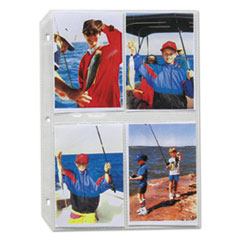 C-Line Clear Photo Pages for 8, 3-1/2 x 5 Photos, 3-Hole Punched, 11-1/4 x 8-1/8