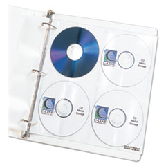 C-Line Deluxe CD Ring Binder Storage Pages, Standard, Stores 8 CDs, 5/PK