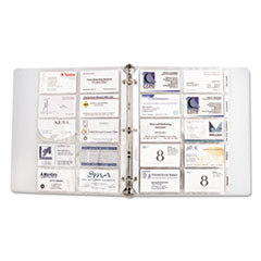 C-Line Tabbed Business Card Binder Pages, 20 Cards Per Letter Page, Clear, 5 Pages