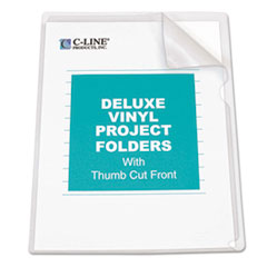 C-Line Deluxe Project Folders, Jacket, Letter, Vinyl, Clear, 50/Box